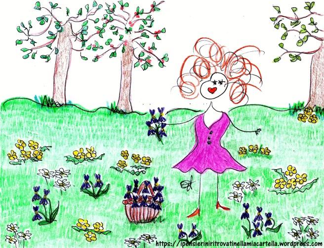 Nel mio giardino - primule - viole - disegno di Susanna Albini