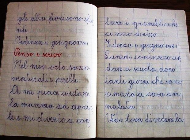 Pensierino, penso e scrivo di prima elementare di Susanna Albini - Nel mio orto